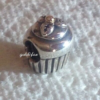 NEW Authentic Pandora CUPCAKE Charm Bead .925 Silver & 14k Gold #790417 RETIRED