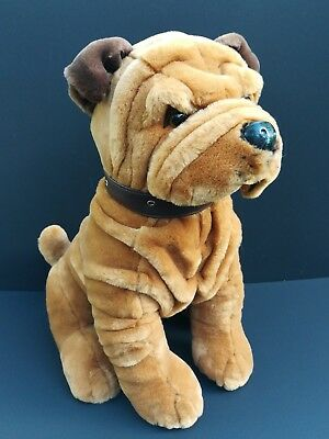 "Shar Pei LARGE 16"" Plush Dog stuffed animal Brown tan wrinkles Sitting Puppy EUC"