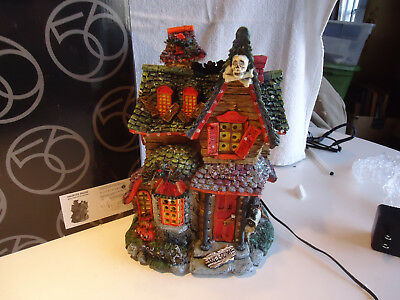 Department 56 Halloween Haunted House w/ fiber optic  lighting retired NIB