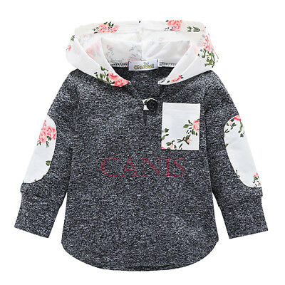 CANIS Kids Baby Boys Girls Floral Hooded Pullover Tops Jacket Coat Outerwear New
