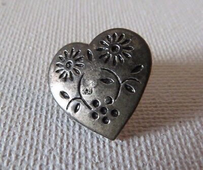 VINTAGE SILVER PLATE OR STERLING?NO MARK HEART BUTTON~embossed FLOWERS