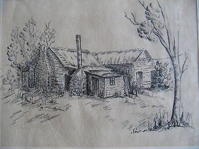 Vintage Ink Drawing of Rustic Farmhouse scene - Artist signed