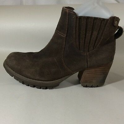 CAT Caterpillar Womens 6.5 Med Brown Suede Leather Chelsea Ankle Work Boot Heels