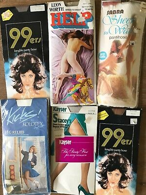 BULK Lot 6X PAIRS Vintage Sheer NYLON Stockings Pantyhose Leon Worth Sabra Kicks