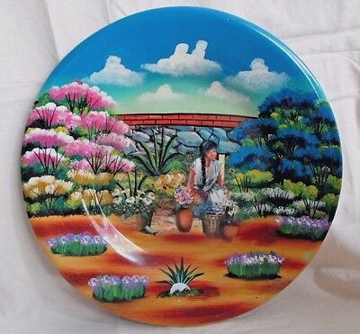 """Vintage South American Mexican Folk Art Pottery Clay Wall Art Plate 9-1/2"""" WOW*"""