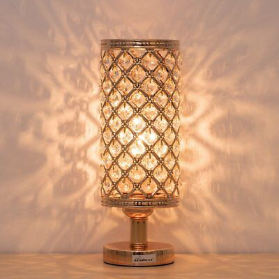 HAITRAL Crystal Bedside Table Lamps - Modern Gold Nightstand Desk Lamp with