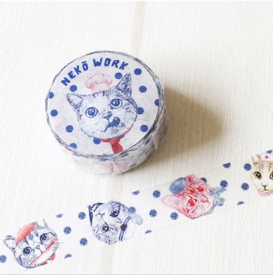 Washi Tape Tokotoko Circus: Neko Work Japanese Cat  Tape Made In Japan