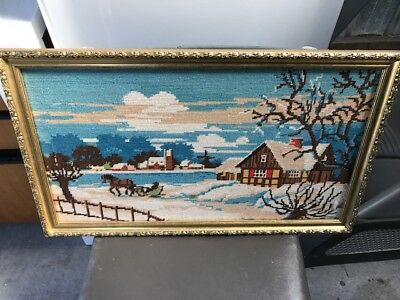Tapestry Lake House, Snow, Winter European 1970's Framed Picture