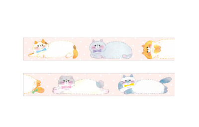 Washi Tape - Papier Platz: Nobu Neko Made in Japan: 15mm x 10m Cute Cat Kitten