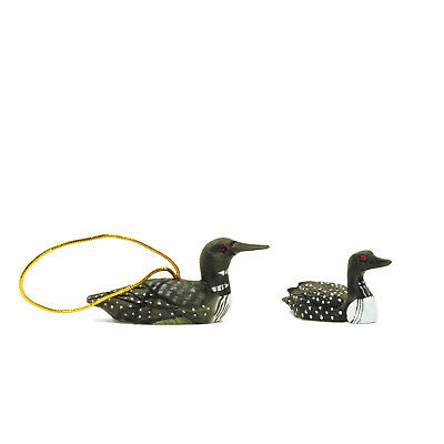 """Set of 2 Loon Wood Christmas Ornament 3"""" and Polystone Black & White Figurine 2"""""""