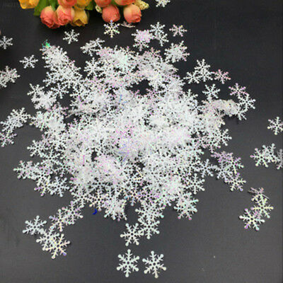 F978 300pcs Snowflake Hanging Ornaments Featival Home Party Decor Artificial