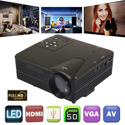 6CF5 HDMI/USB/AV/VGA/SD LED HD Projector Multimedia System Video Projector