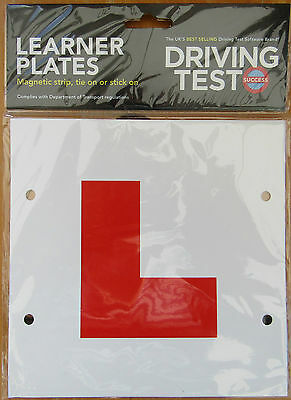 1 Pair Of Learner 'L' Plates Magnetic Stick-on Tie On 3 Way