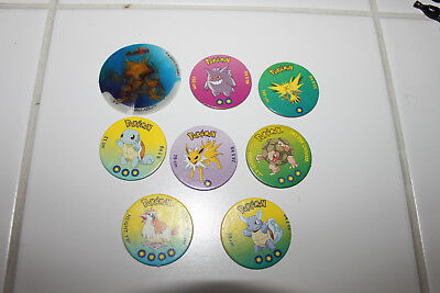 Lot de 8 POGS POKEMON 3D RARE NOM CARDS cartes figures figurines pog