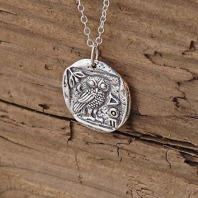 Sterling Silver Ancient Coin Athena Owl Pendant Necklace Goddess
