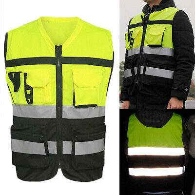 Hi-Vis Safety Vest Reflective Night Security Waistcoat Kit Driving Jacket Worker