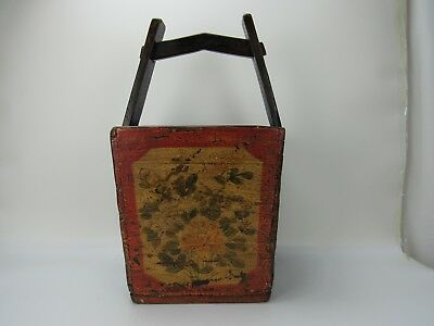 """A Chinese Antique Wooden Dou Basket / Magazine Box with Handle 23 """" High"""