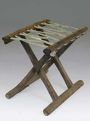 A Chinese Antique wood Rope Folding stool 10.6'' H light wood tone ancient chair