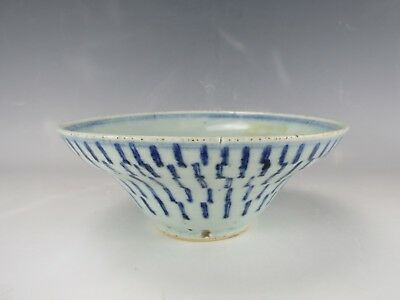 "A Chinese Antique White & Blue Porcelain Bowl beautiful hand painting 7"" Dia"