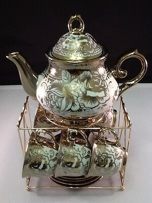 13pc Tea Set. Tea Pot 6 Cups & Saucers w Rack Coffee Cup Set Gold Tone 3 oz Cups