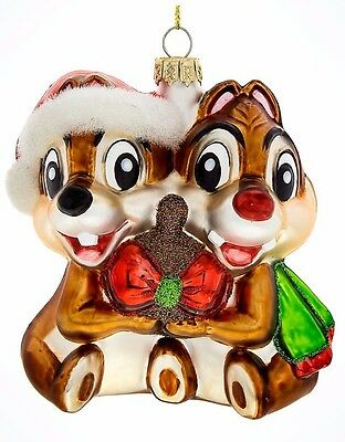 Walt Disney World, Chip n Dale, Blown Glass Ornaments.  Brand new with tags.