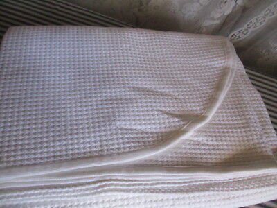 Vintage French UNUSED Bed Cover / Throw. Waffle texture, King size. 230 x 250 cm
