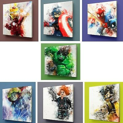 Lego Heroes Marvel / dc Comic Characters Canvas kids Wall picture prints