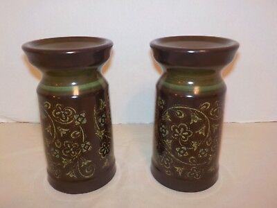 """MADEIRA"" Franciscan Flowers Brown Green Bands Two Candlesticks- 6 1/8"""
