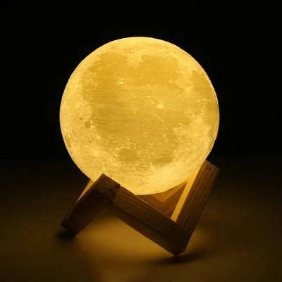 Creative 3D Print Moon Lamp with Touch-Sensing Switch 3D Lunar Lamp 2 Color