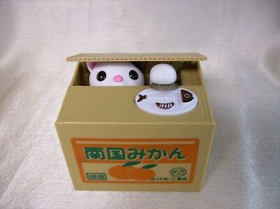 Animated Oriental Talking Mischief Coin Stealing Kitty Savings Bank in Box