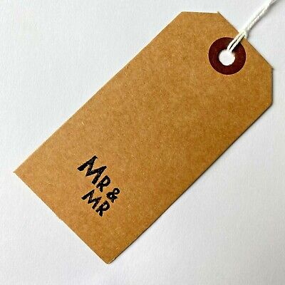 MR AND MR Vintage Style pack of 10 brown gift tags Wedding homemade gay