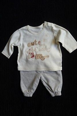 Baby clothes UNISEX BOY GIRL 0-3m outfit cream bear LS top/grey soft trousers