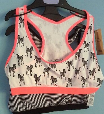 M&S Girls 2 Seam free Crop Top  Age 12-14 Yrs BNWT, STRIPES, ZEBRAS,FREE POSTAGE