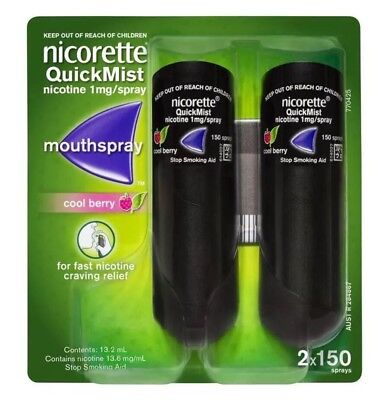 NEW Nicorette QuickMist Cool Berry 2x150 1mg Mouth Spray Nicotine Stop Smoking