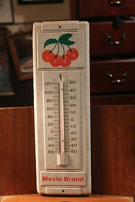 "Antique 14"" Metal Thermometer Moxie Brand Cherry Cherries"