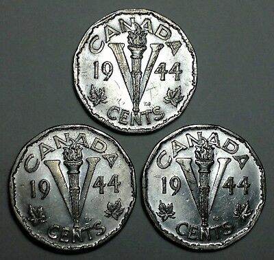 3x 1944  Canada (5) five cents Canadian nickel Coins, WW2 commemorative coin