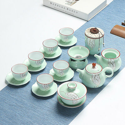Longquan celadon tea set Chinese kungfu tea set porcelain tea pot tureen tea cup