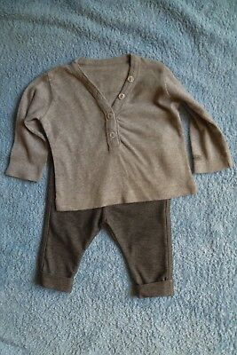 Baby clothes BOY GIRL 3-6m outfit stretch grey trousers/long sleeve top SEE SHOP