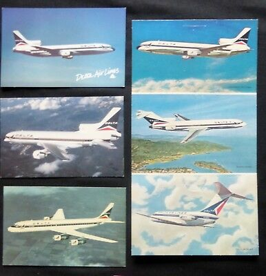 DELTA AIRLINES: 1 Vintage Triple Fold Out Card  2 Lockheed & DC 8 Fan Jet  #2529