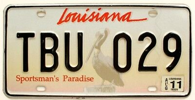 Louisiana 2011 Pelican Graphic License Plate, TBU029