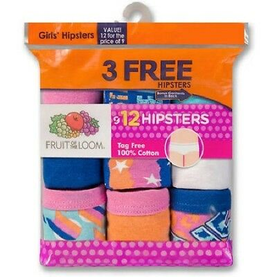 Fruit of the Loom Girl's 100% Cotton Hipster Panties 12, 24 or 36 Value Packs