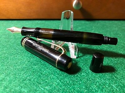 RARE Montblanc Black 234 1/2 Piston Fountain Pen - Antique - BEAUTIFUL