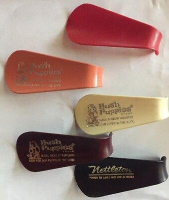 "Lot 5 Vintage Hard Plastic 4"" Shoe Horns Hush Puppies Nettleton"
