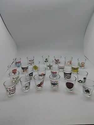 LOT OF 24 PRINTED SHOT GLASSES ASSORTED FUNNIES WHISKY VODKA TEQUILLA assorted