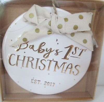 Mud Pie Baby's First Christmas Est 2017 Ceramic Ornament NIB 4675093