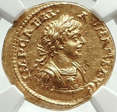 CARACALLA Authentic Ancient 198AD NGC Certified Choice MS* Gold Aureus Coin