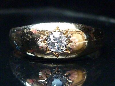 Stunning Gents Edwardian C1907 18ct gold Old cut solitaire 0.31ct diamond ring