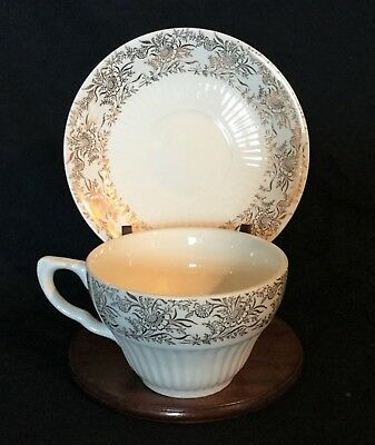 Vintage Antique Royal China Bridal Gold 22K Cup and Saucer Tea Coffee