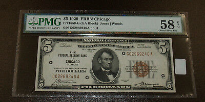 1929 $5 Chicago National Currency Note FR 1850-G PMG AU 58 EPQ!!