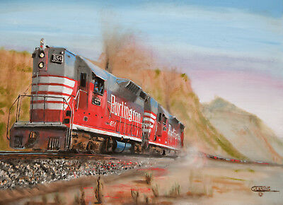 Original Oil painting CB&Q railroad train diesel  Texas Colorado American Artist